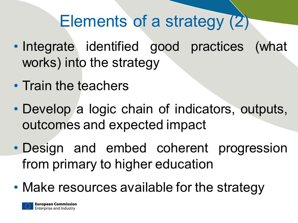 Elements of a strategy (2) Integrate identified good practices (what works) into the strategy Train the teachers Develop a logic chain of indicators, outputs, outcomes and expected impact Design and embed coherent progression from primary to higher education Make resources available for the strategy