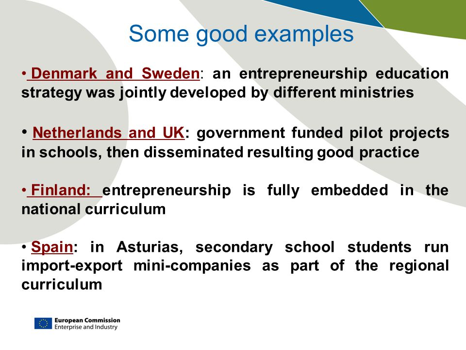Some good examples Denmark and Sweden: an entrepreneurship education strategy was jointly developed by different ministries Netherlands and UK: government funded pilot projects in schools, then disseminated resulting good practice Finland: entrepreneurship is fully embedded in the national curriculum Spain: in Asturias, secondary school students run import-export mini-companies as part of the regional curriculum