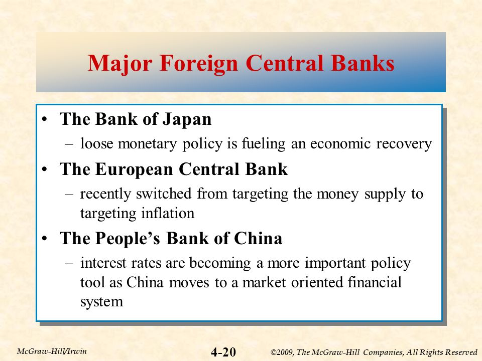 ©2009, The McGraw-Hill Companies, All Rights Reserved 4-20 McGraw-Hill/Irwin Major Foreign Central Banks The Bank of Japan –loose monetary policy is fueling an economic recovery The European Central Bank –recently switched from targeting the money supply to targeting inflation The People's Bank of China –interest rates are becoming a more important policy tool as China moves to a market oriented financial system The Bank of Japan –loose monetary policy is fueling an economic recovery The European Central Bank –recently switched from targeting the money supply to targeting inflation The People's Bank of China –interest rates are becoming a more important policy tool as China moves to a market oriented financial system