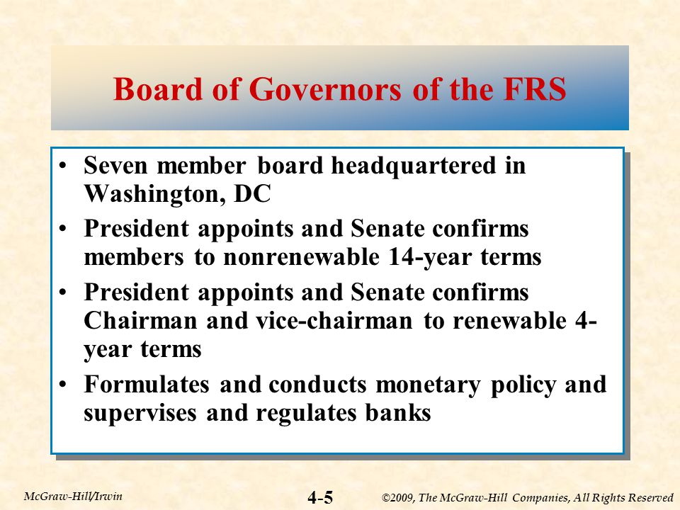 ©2009, The McGraw-Hill Companies, All Rights Reserved 4-5 McGraw-Hill/Irwin Board of Governors of the FRS Seven member board headquartered in Washington, DC President appoints and Senate confirms members to nonrenewable 14-year terms President appoints and Senate confirms Chairman and vice-chairman to renewable 4- year terms Formulates and conducts monetary policy and supervises and regulates banks Seven member board headquartered in Washington, DC President appoints and Senate confirms members to nonrenewable 14-year terms President appoints and Senate confirms Chairman and vice-chairman to renewable 4- year terms Formulates and conducts monetary policy and supervises and regulates banks
