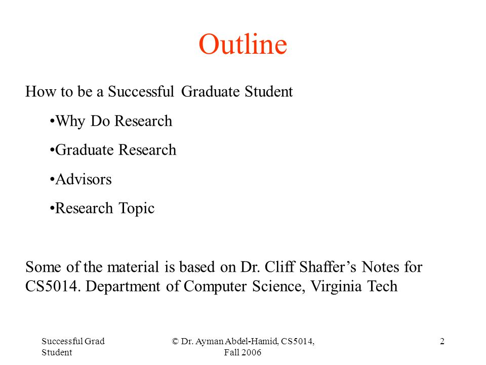 Successful Grad Student © Dr.