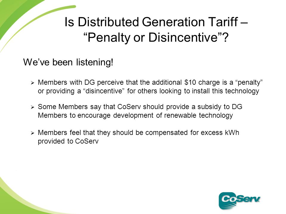 Is Distributed Generation Tariff – Penalty or Disincentive .