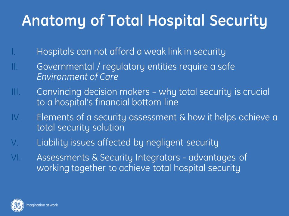 3 / GE/ June 16, 2004 Anatomy of Total Hospital Security I.