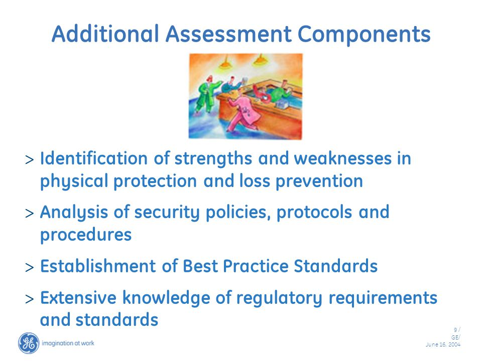 9 / GE/ June 16, 2004 Additional Assessment Components  Identification of strengths and weaknesses in physical protection and loss prevention  Analysis of security policies, protocols and procedures  Establishment of Best Practice Standards  Extensive knowledge of regulatory requirements and standards