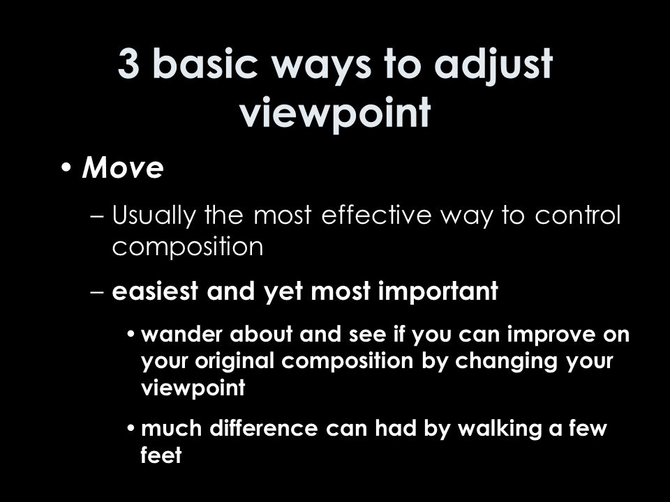 3 basic ways to adjust viewpoint Move –Usually the most effective way to control composition – easiest and yet most important wander about and see if you can improve on your original composition by changing your viewpoint much difference can had by walking a few feet