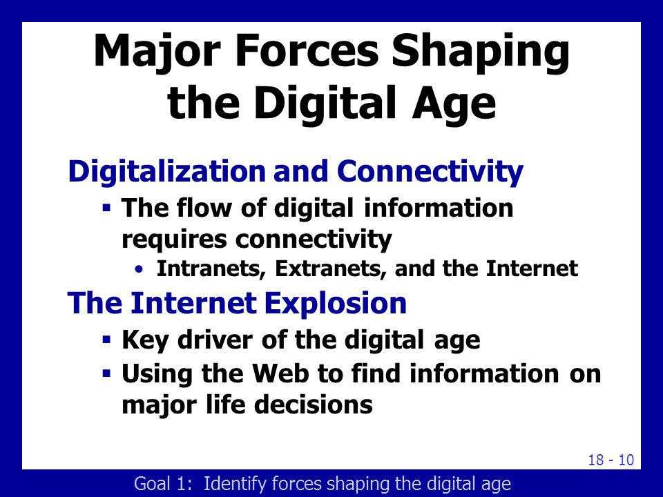 18 - 10 Major Forces Shaping the Digital Age Digitalization and Connectivity  The flow of digital information requires connectivity Intranets, Extran