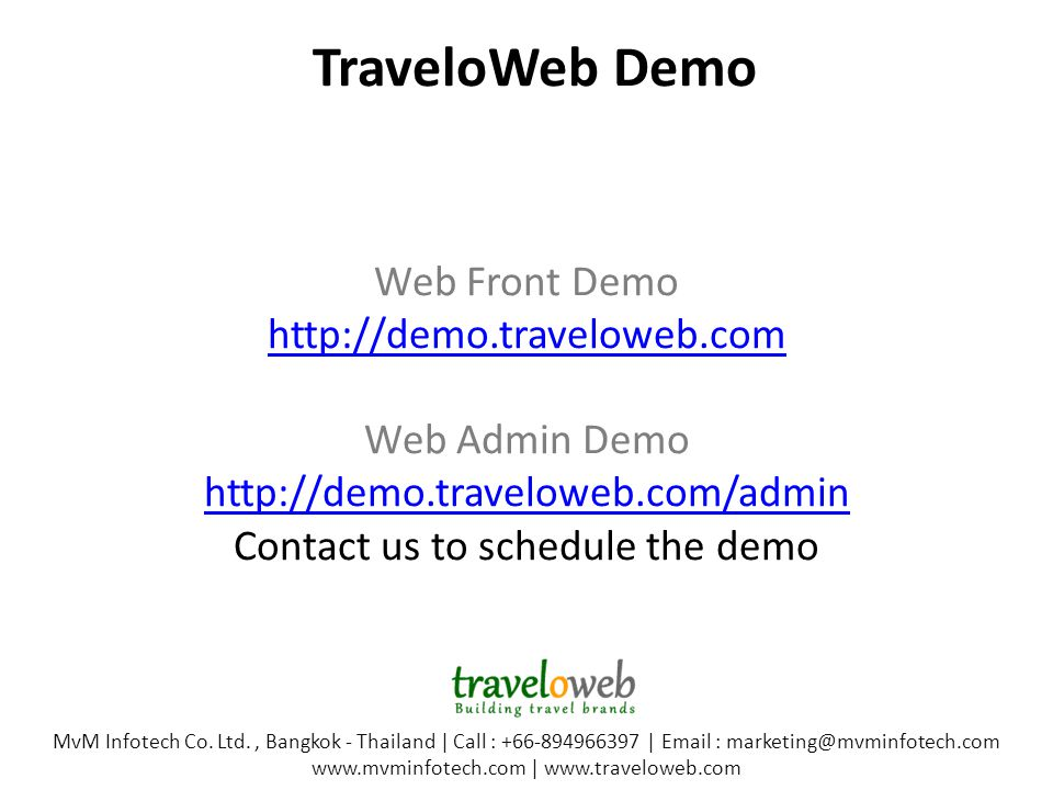 TraveloWeb Demo MvM Infotech Co.
