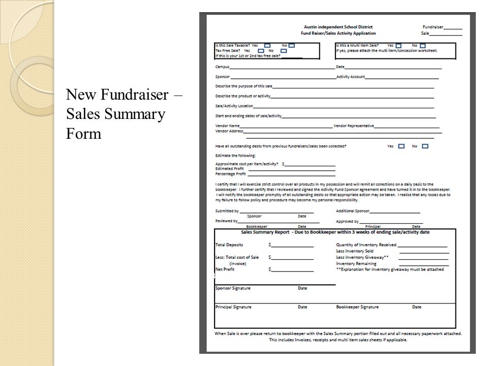 New Fundraiser – Sales Summary Form