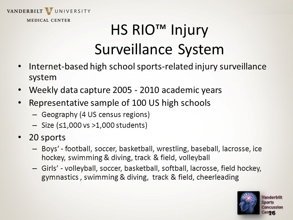 HS RIO™ Injury Surveillance System Internet-based high school sports-related injury surveillance system Weekly data capture academic years Representative sample of 100 US high schools – Geography (4 US census regions) – Size (≤1,000 vs >1,000 students) 20 sports – Boys' - football, soccer, basketball, wrestling, baseball, lacrosse, ice hockey, swimming & diving, track & field, volleyball – Girls' - volleyball, soccer, basketball, softball, lacrosse, field hockey, gymnastics, swimming & diving, track & field, cheerleading 16