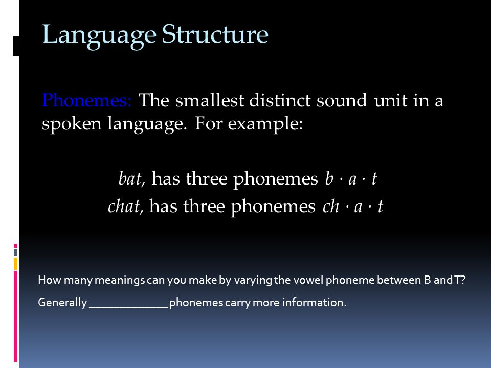 Language Structure Phonemes: The smallest distinct sound unit in a spoken language.