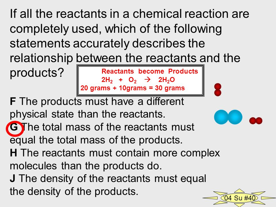 If all the reactants in a chemical reaction are completely used, which of the following statements accurately describes the relationship between the reactants and the products.