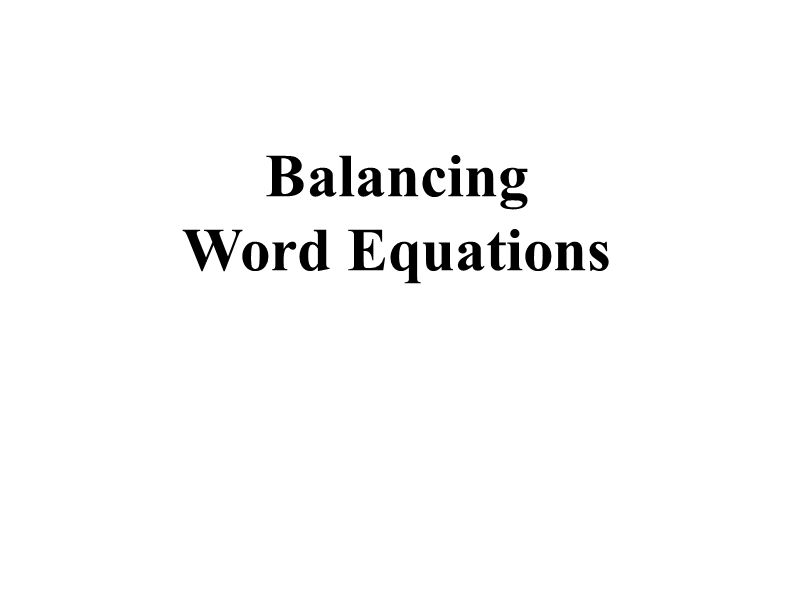 Balancing Word Equations