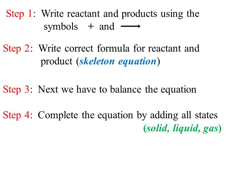 Step 1: Write reactant and products using the symbols + and Step 2: Write correct formula for reactant and product (skeleton equation) Step 3: Next we have to balance the equation Step 4: Complete the equation by adding all states (solid, liquid, gas)