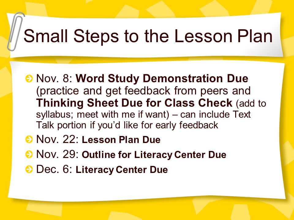 Small Steps to the Lesson Plan Nov.