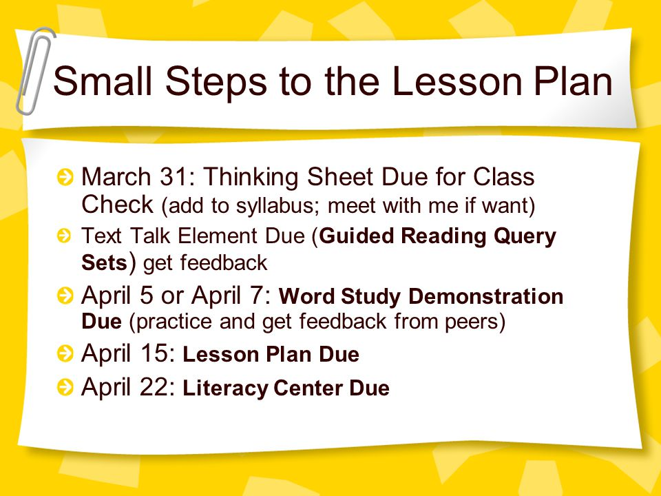 Small Steps to the Lesson Plan March 31: Thinking Sheet Due for Class Check (add to syllabus; meet with me if want) Text Talk Element Due (Guided Reading Query Sets ) get feedback April 5 or April 7: Word Study Demonstration Due (practice and get feedback from peers) April 15: Lesson Plan Due April 22: Literacy Center Due