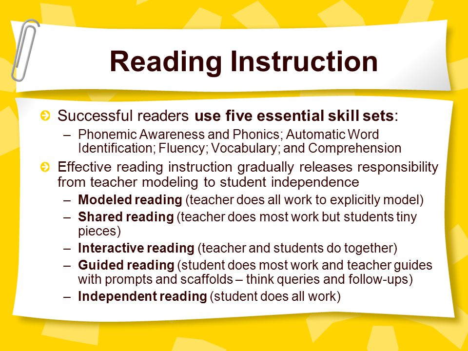 Reading Instruction Successful readers use five essential skill sets: –Phonemic Awareness and Phonics; Automatic Word Identification; Fluency; Vocabulary; and Comprehension Effective reading instruction gradually releases responsibility from teacher modeling to student independence –Modeled reading (teacher does all work to explicitly model) –Shared reading (teacher does most work but students tiny pieces) –Interactive reading (teacher and students do together) –Guided reading (student does most work and teacher guides with prompts and scaffolds – think queries and follow-ups) –Independent reading (student does all work)