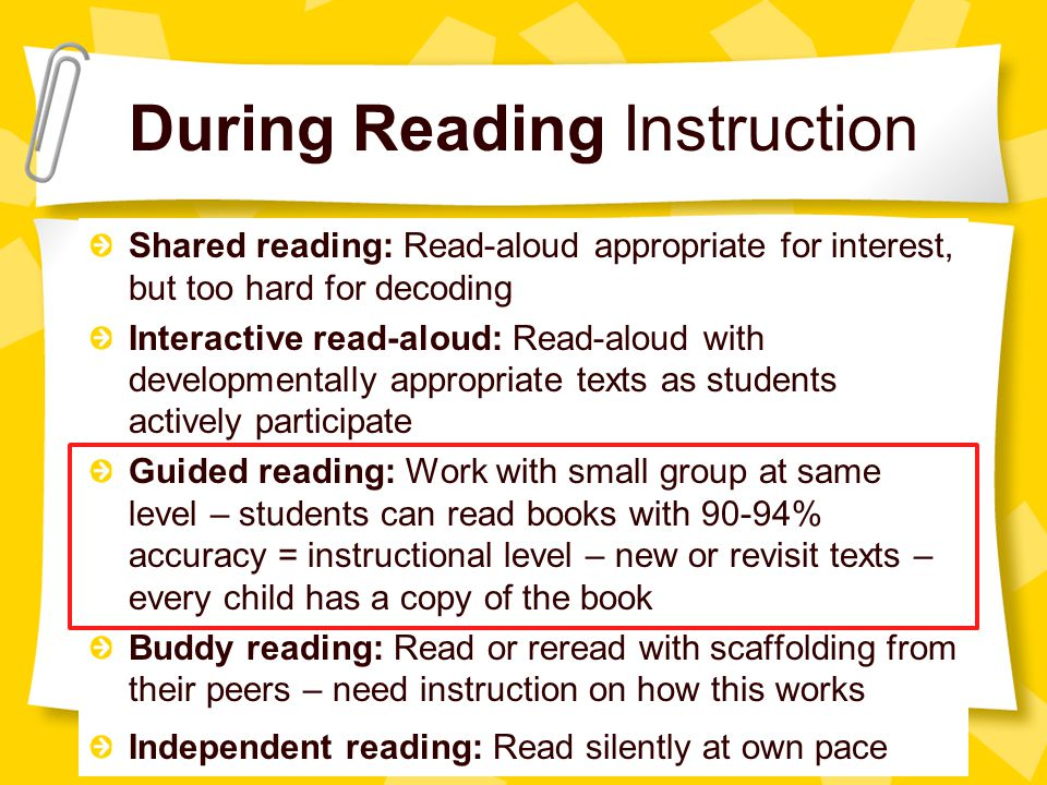 During Reading Instruction Shared reading: Read-aloud appropriate for interest, but too hard for decoding Interactive read-aloud: Read-aloud with developmentally appropriate texts as students actively participate Guided reading: Work with small group at same level – students can read books with 90-94% accuracy = instructional level – new or revisit texts – every child has a copy of the book Buddy reading: Read or reread with scaffolding from their peers – need instruction on how this works Independent reading: Read silently at own pace