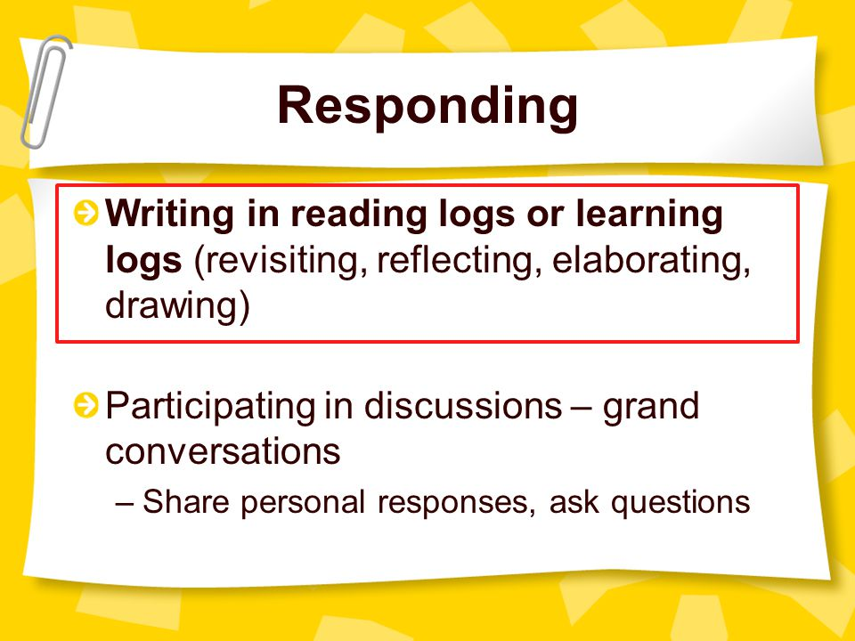 Responding Writing in reading logs or learning logs (revisiting, reflecting, elaborating, drawing) Participating in discussions – grand conversations –Share personal responses, ask questions