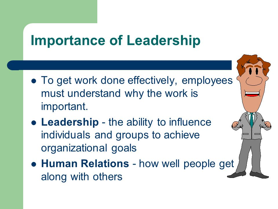 Importance of Leadership To get work done effectively, employees must understand why the work is important. Leadership - the ability to influence indi