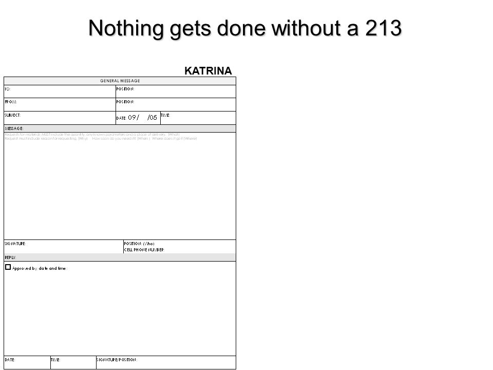 Nothing gets done without a 213 KATRINA