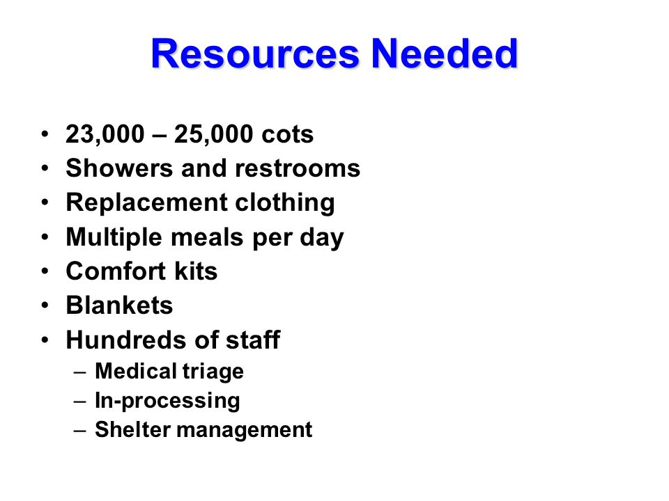 Resources Needed 23,000 – 25,000 cots Showers and restrooms Replacement clothing Multiple meals per day Comfort kits Blankets Hundreds of staff –Medical triage –In-processing –Shelter management