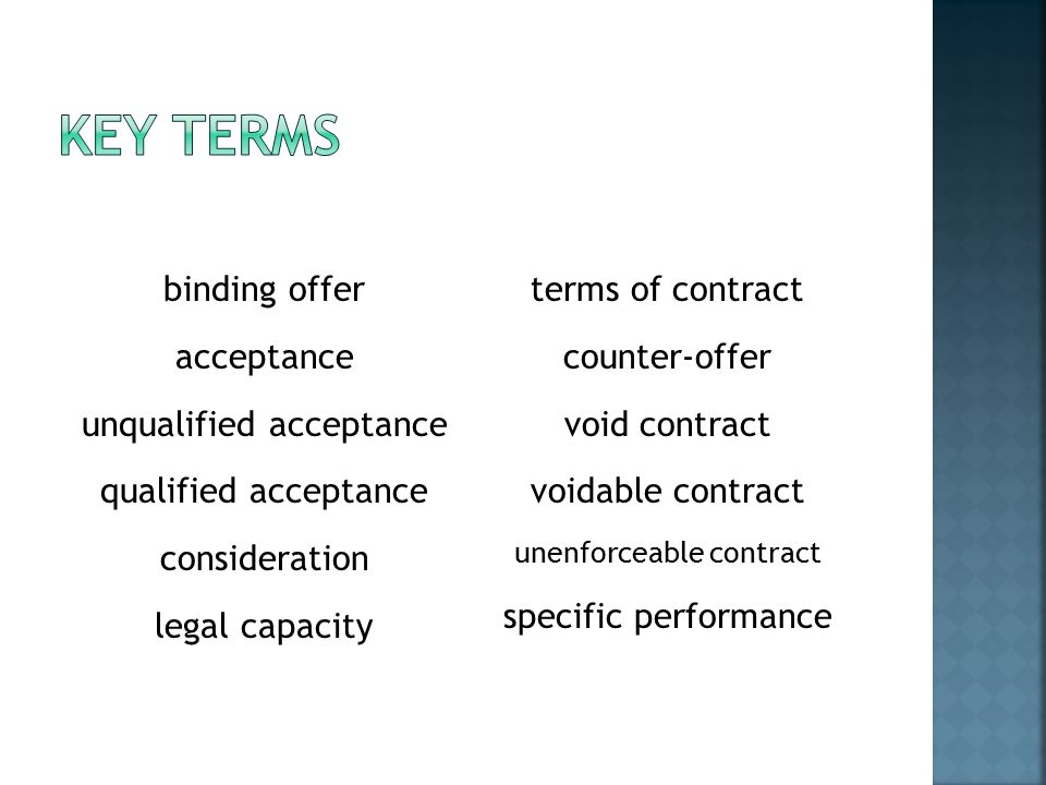binding offer acceptance unqualified acceptance qualified acceptance consideration legal capacity terms of contract counter-offer void contract voidable contract unenforceable contract specific performance
