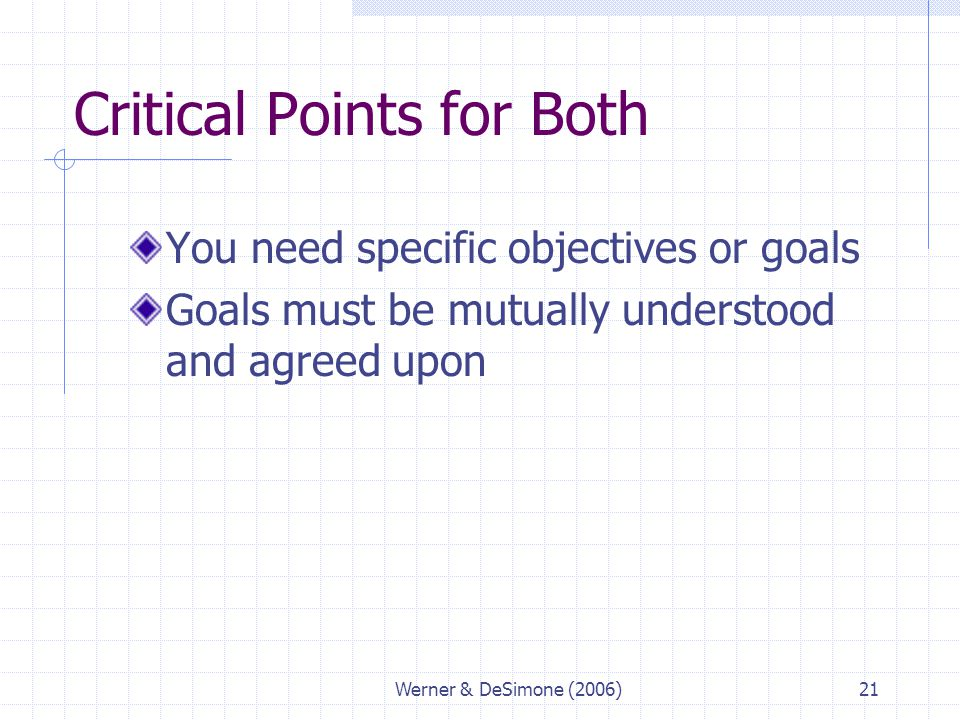 Werner & DeSimone (2006)21 Critical Points for Both You need specific objectives or goals Goals must be mutually understood and agreed upon