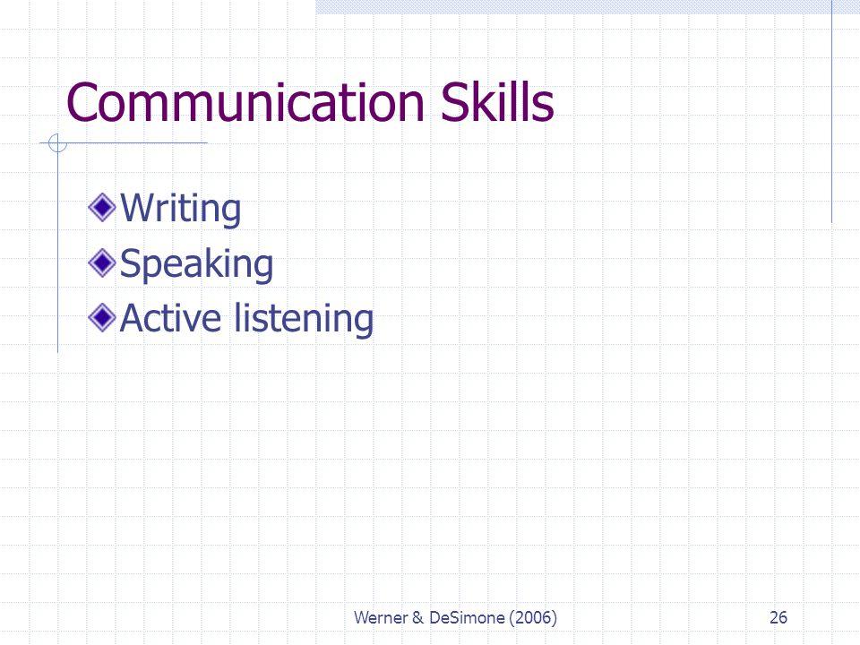 Werner & DeSimone (2006)26 Communication Skills Writing Speaking Active listening