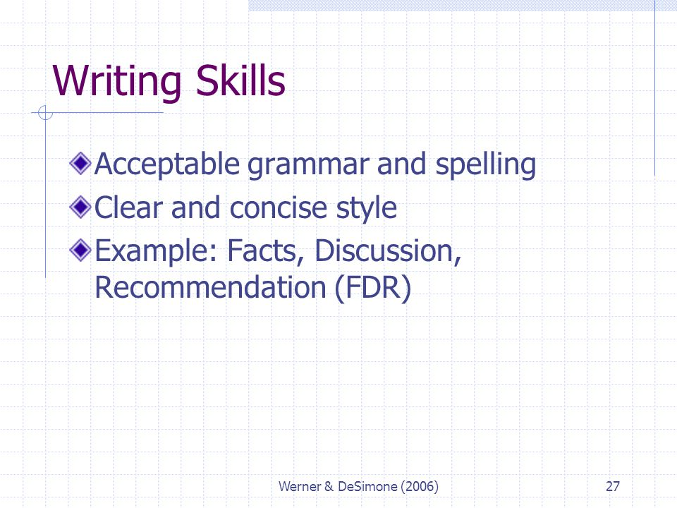 Werner & DeSimone (2006)27 Writing Skills Acceptable grammar and spelling Clear and concise style Example: Facts, Discussion, Recommendation (FDR)