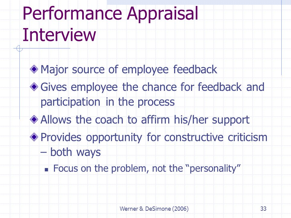 Werner & DeSimone (2006)33 Performance Appraisal Interview Major source of employee feedback Gives employee the chance for feedback and participation