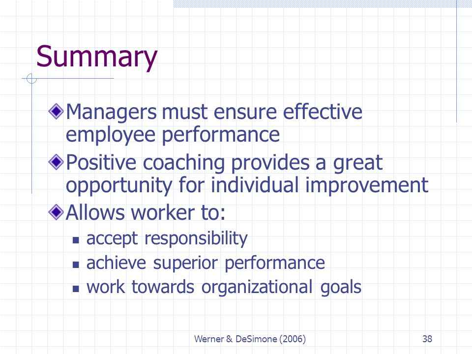 Werner & DeSimone (2006)38 Summary Managers must ensure effective employee performance Positive coaching provides a great opportunity for individual i