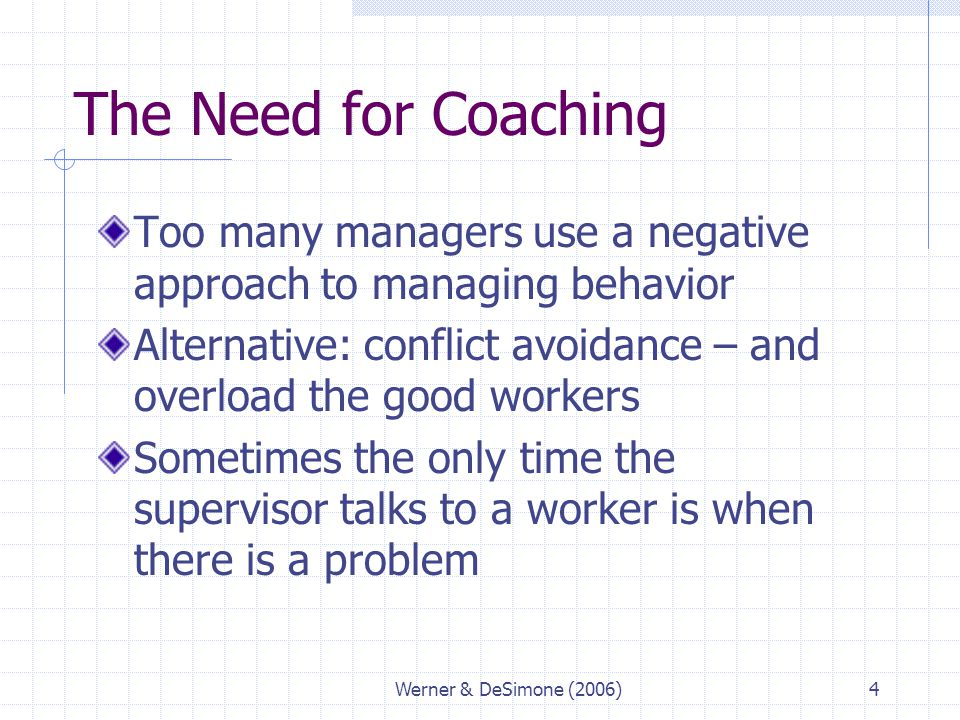 Werner & DeSimone (2006)4 The Need for Coaching Too many managers use a negative approach to managing behavior Alternative: conflict avoidance – and o