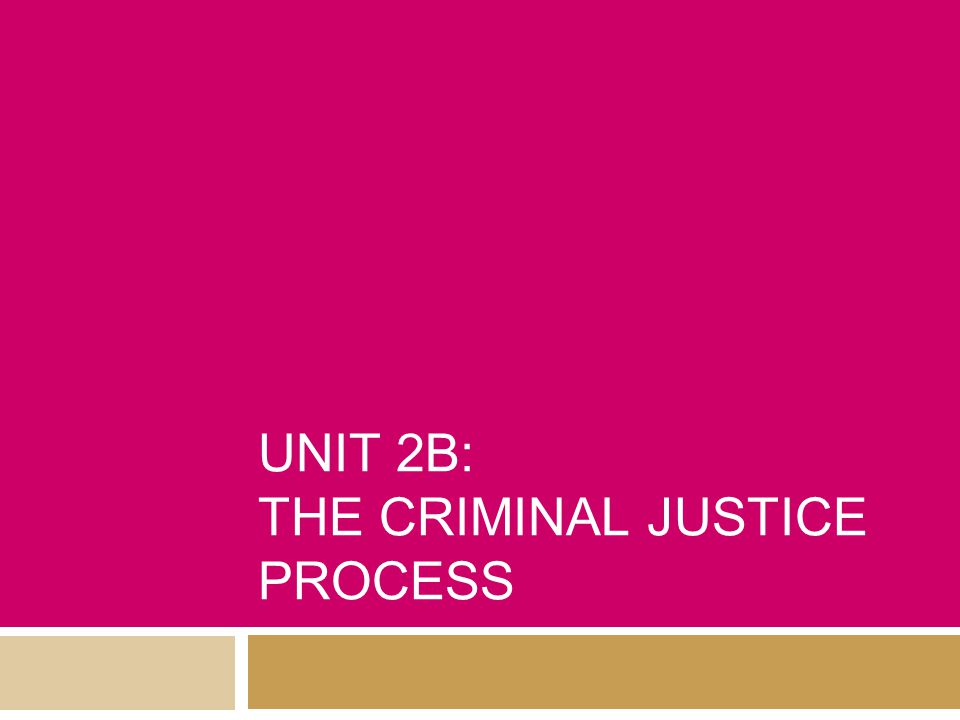UNIT 2B: THE CRIMINAL JUSTICE PROCESS