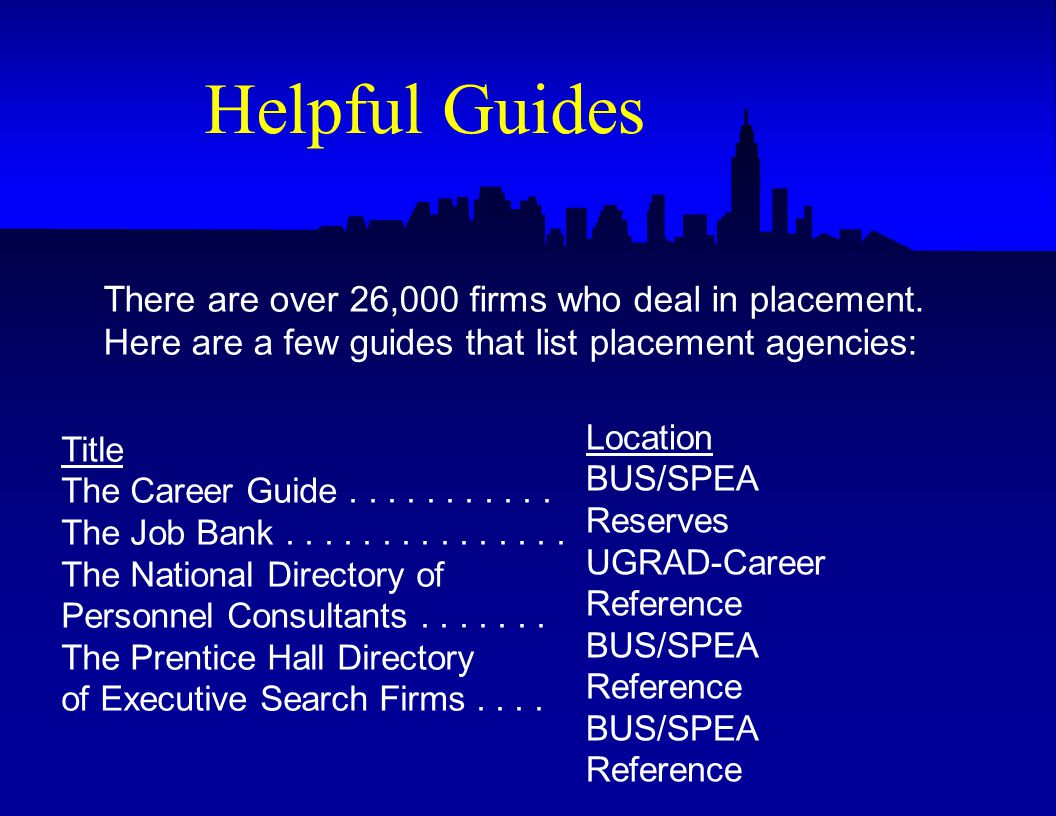 Title The Career Guide The Job Bank