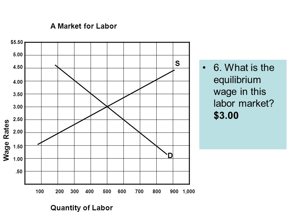 6. What is the equilibrium wage in this labor market.
