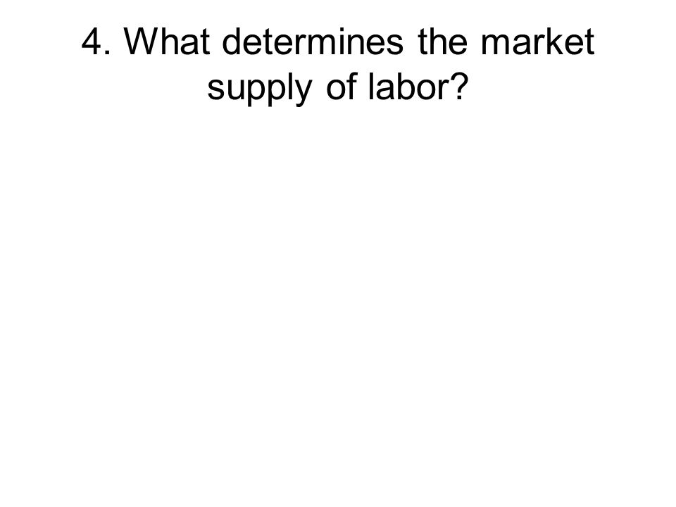 4. What determines the market supply of labor