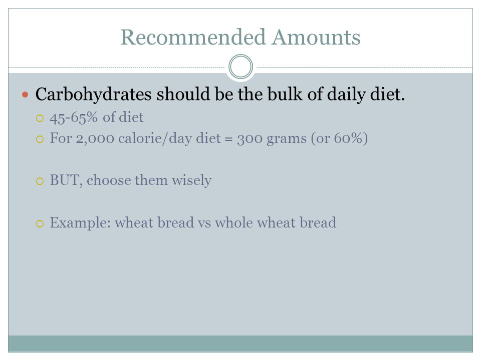 Recommended Amounts Carbohydrates should be the bulk of daily diet.