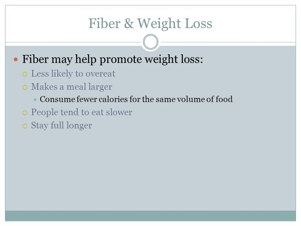 Fiber & Weight Loss Fiber may help promote weight loss:  Less likely to overeat  Makes a meal larger  Consume fewer calories for the same volume of food  People tend to eat slower  Stay full longer
