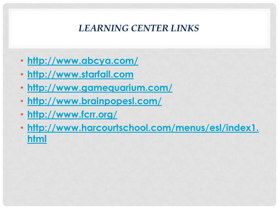 LEARNING CENTER LINKS