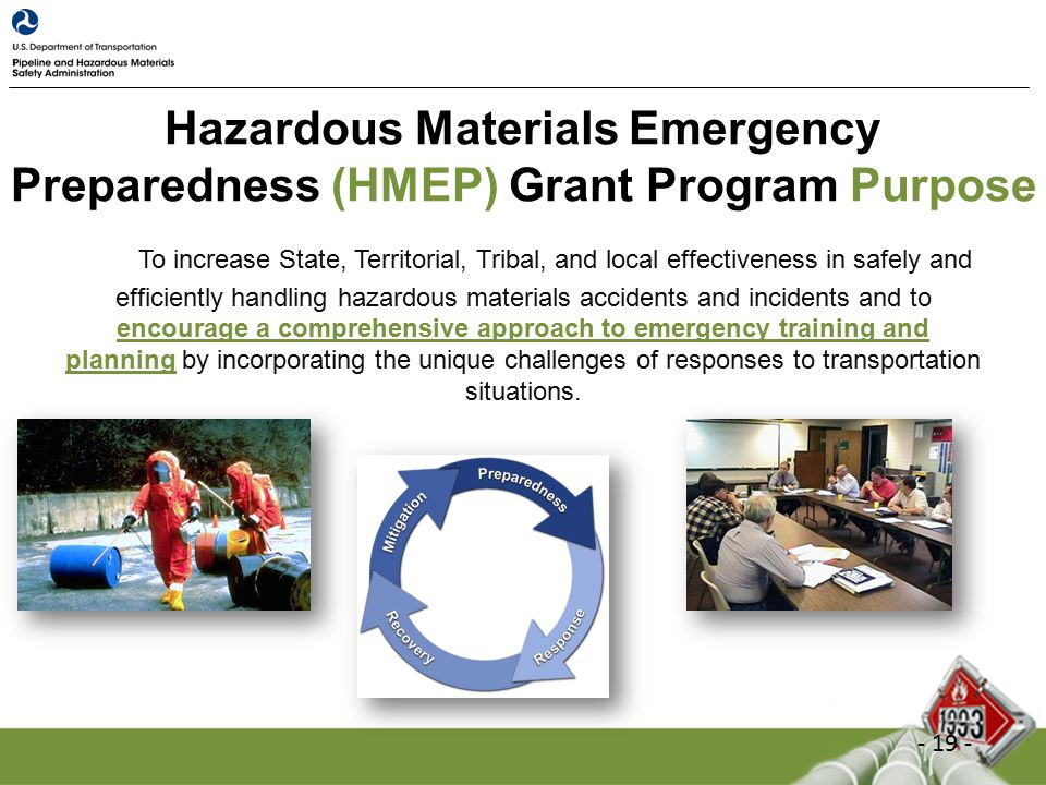 Hazardous Materials Emergency Preparedness (HMEP) Grant Program Purpose To increase State, Territorial, Tribal, and local effectiveness in safely and efficiently handling hazardous materials accidents and incidents and to encourage a comprehensive approach to emergency training and planning by incorporating the unique challenges of responses to transportation situations.