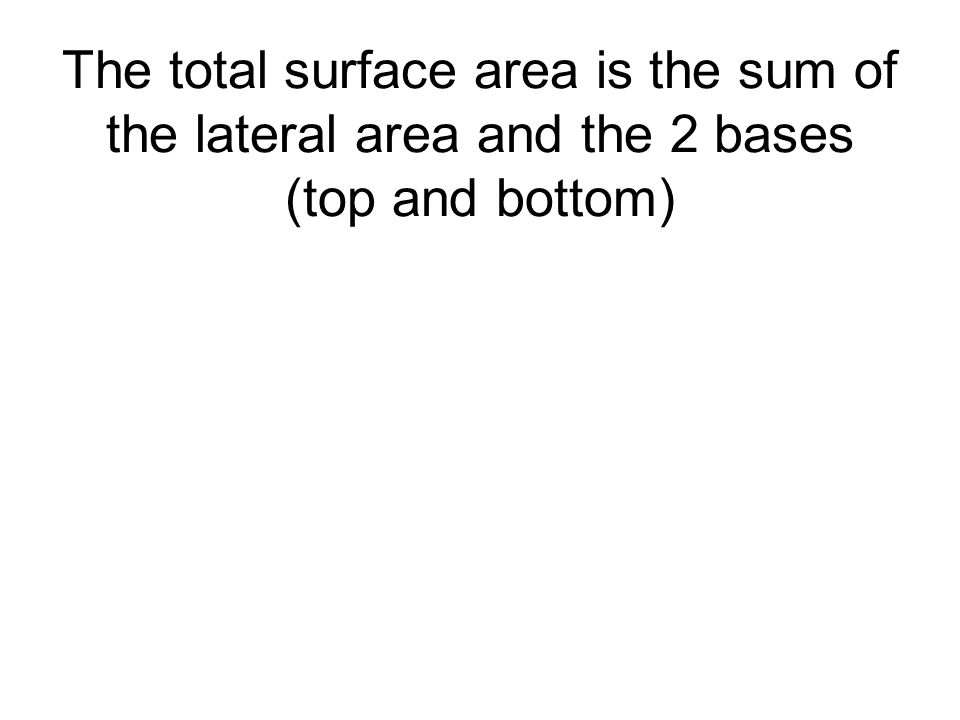 The total surface area is the sum of the lateral area and the 2 bases (top and bottom)