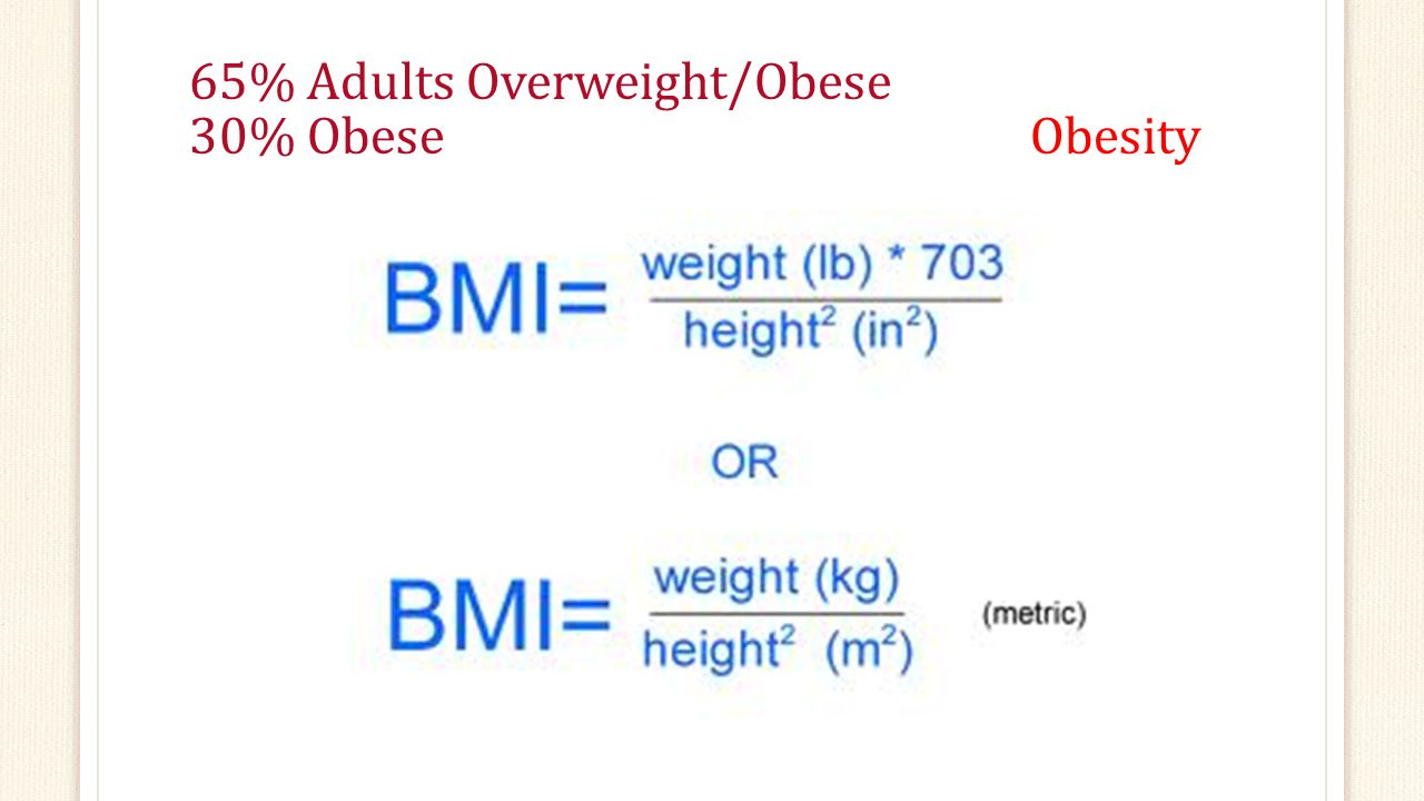 65% Adults Overweight/Obese 30% Obese Obesity