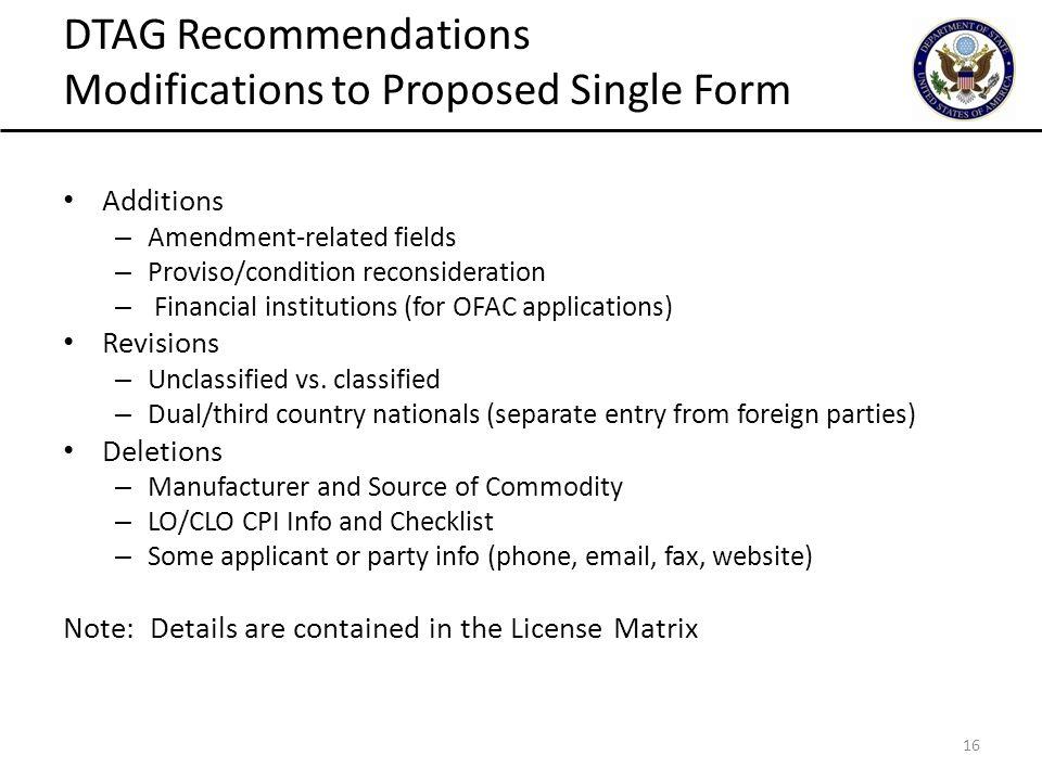 Defense Trade Advisory Group Single License Form Plenary Session ...
