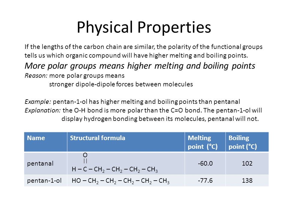 Physical Properties If the lengths of the carbon chain are similar, the polarity of the functional groups tells us which organic compound will have higher melting and boiling points.