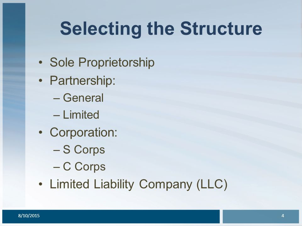 Selecting the Structure Sole Proprietorship Partnership: –General –Limited Corporation: –S Corps –C Corps Limited Liability Company (LLC) 8/10/20154