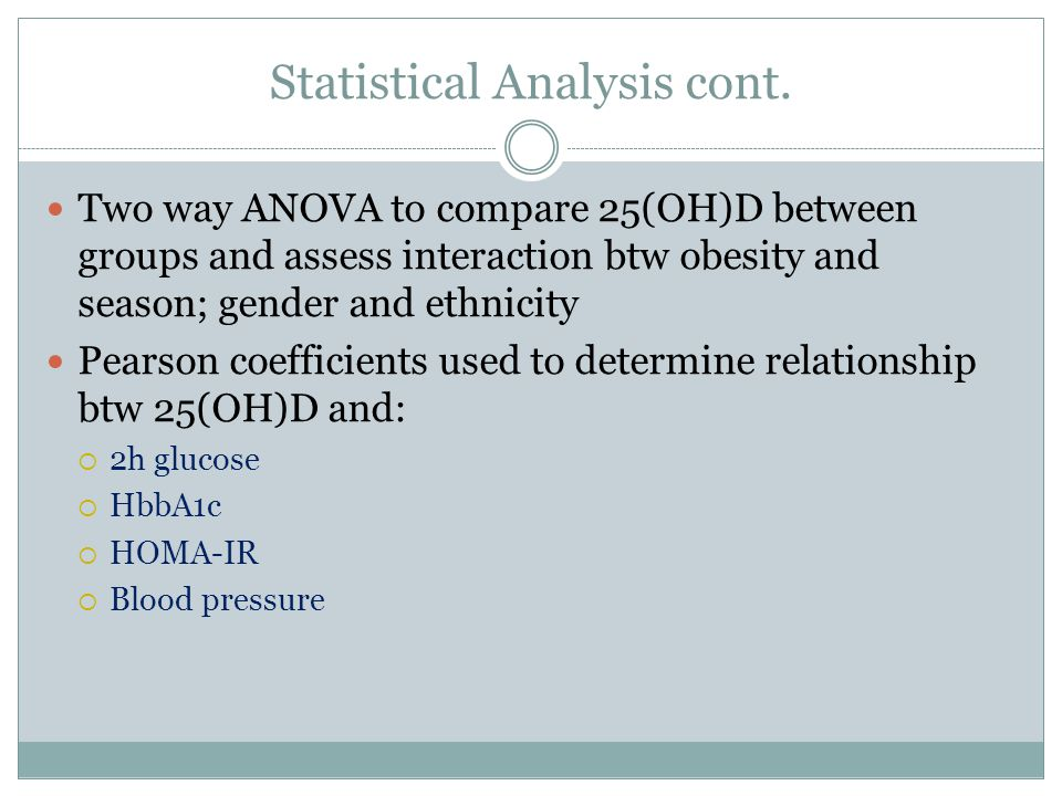 Statistical Analysis cont.