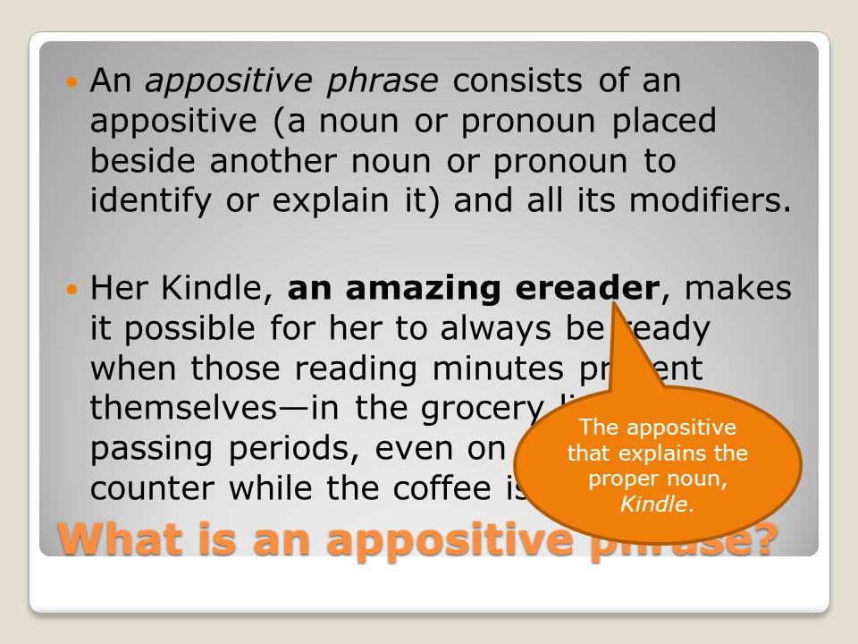 What is an appositive phrase.