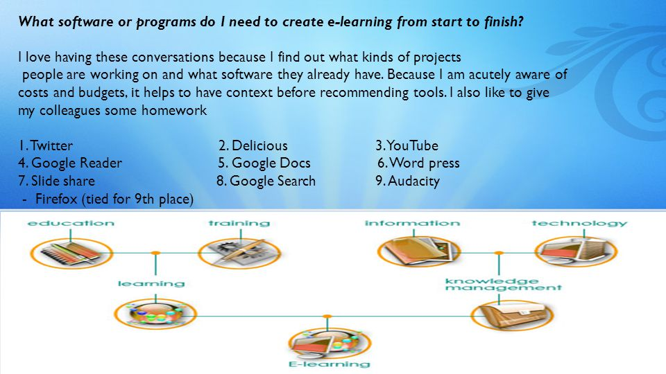 What software or programs do I need to create e-learning from start to finish.