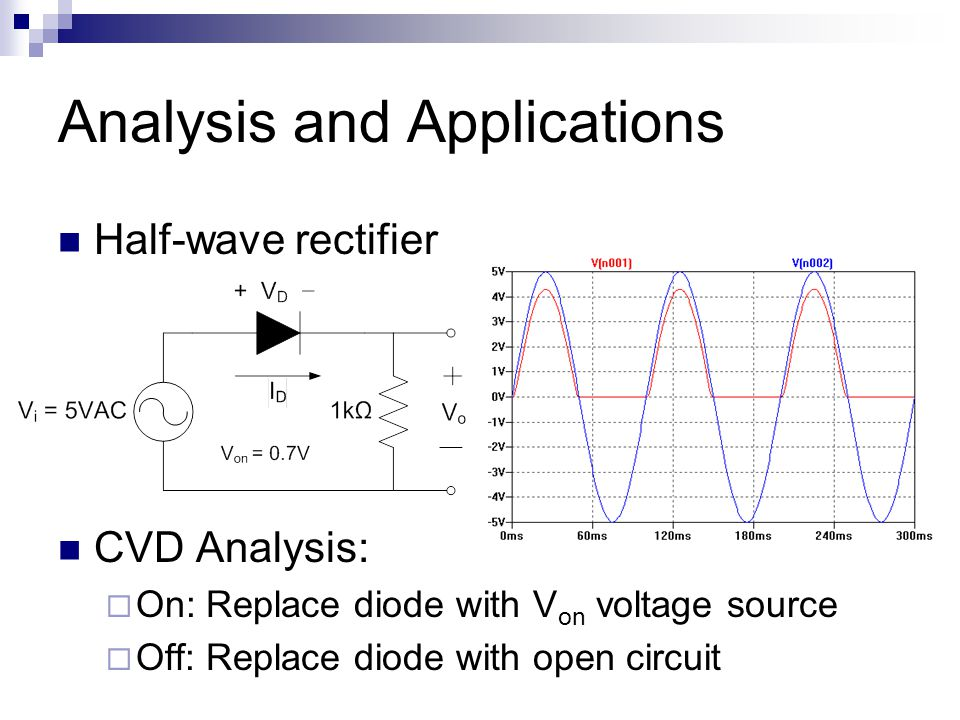Analysis and Applications Half-wave rectifier CVD Analysis:  On: Replace diode with V on voltage source  Off: Replace diode with open circuit