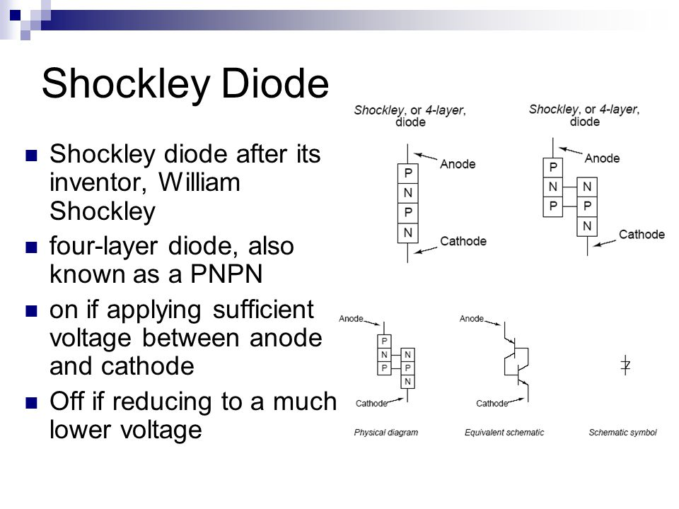 Shockley Diode Shockley diode after its inventor, William Shockley four-layer diode, also known as a PNPN on if applying sufficient voltage between anode and cathode Off if reducing to a much lower voltage
